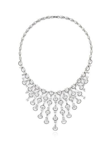 Tophills Diamond Co. 25,70 Ct Pırlanta Efekt Altın Cascada Gerdanlık Renkli